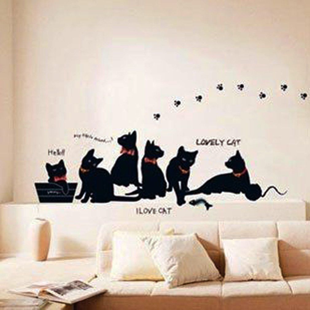 Window decor stickers  lovely cats wall sticker paper family diy removable mural art decal