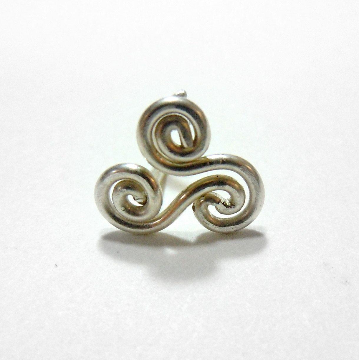 Tripple Spiral Nose Ring 18 gauge. $12.00, via Etsy.