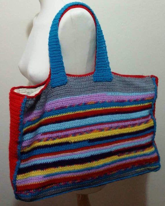Big handmade shopping bag/market bag by KaterinakiJewelry on Etsy