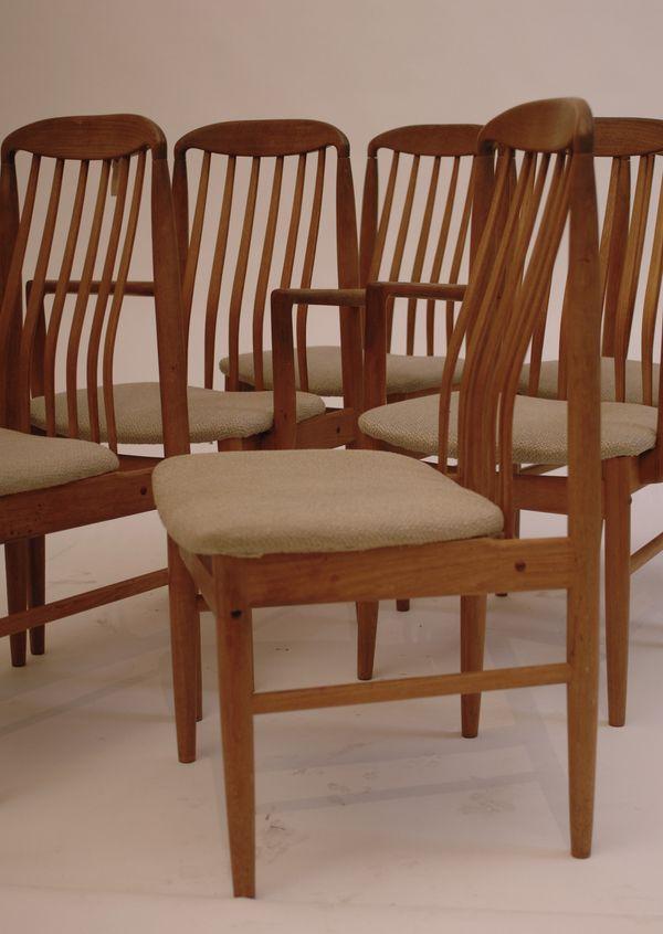 6 Dining Danish Modern Teak Mid Century Wood Slat Back Chairs
