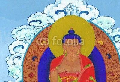 Traditional Tibetan style painting of Buddha Sakyamuni