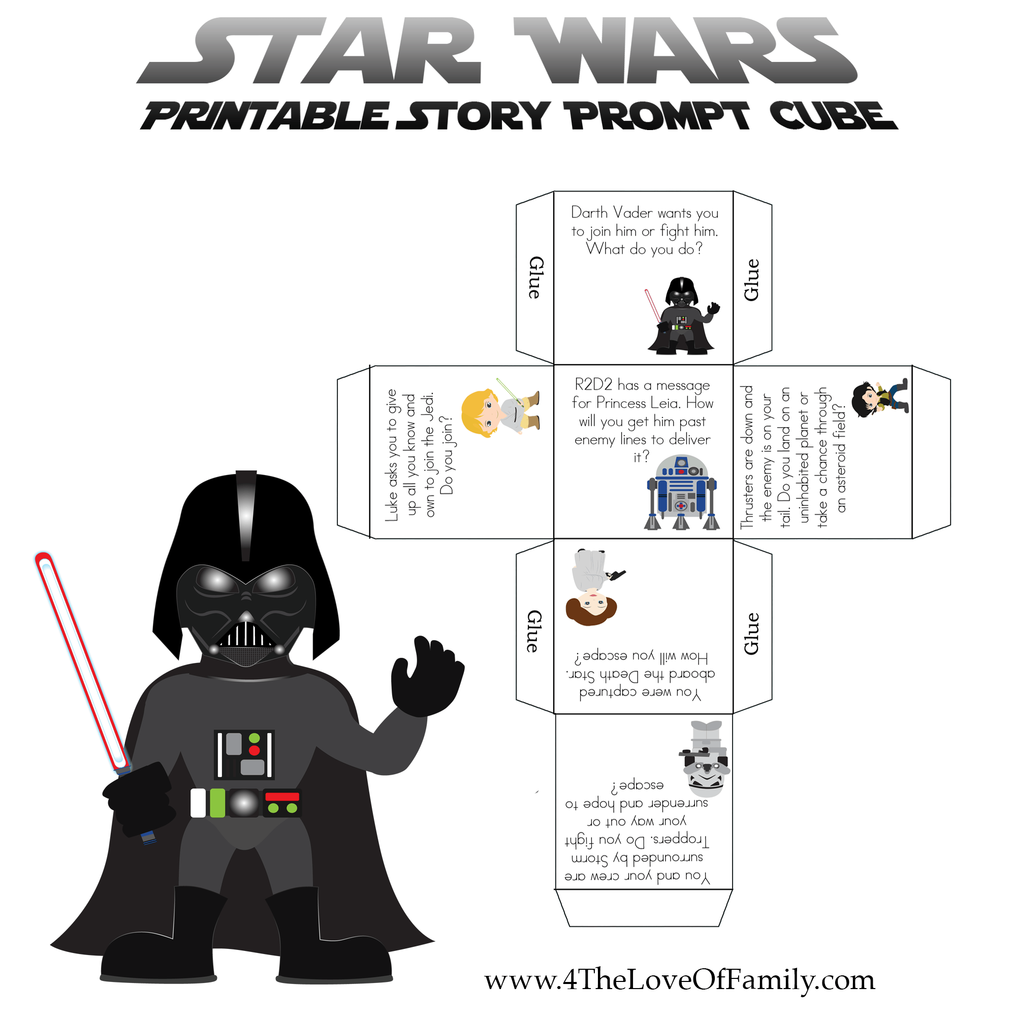 Printable star wars story cube prompt english for kids star printable star wars story cube prompt xflitez Image collections