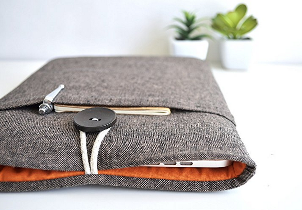 Leather MacBook Pro/Air Case Wood Brown Leather laptop