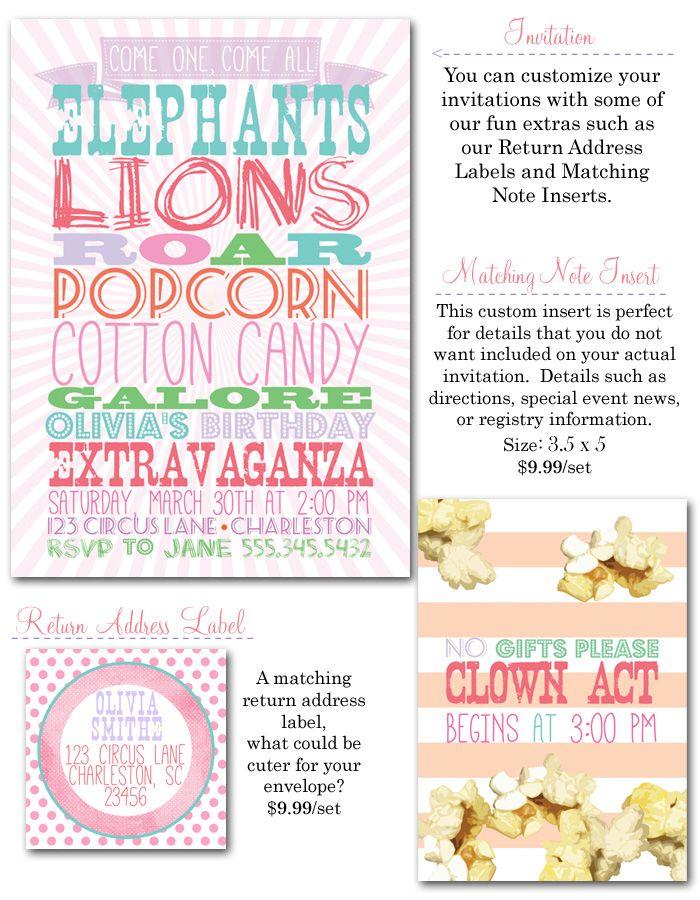 circus birthday party, circus party invites, girl party invites - circus party invitation