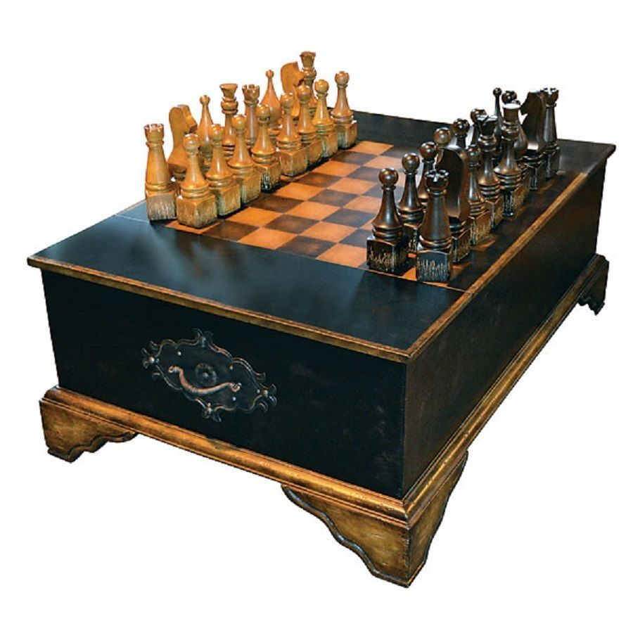 Chess Coffee Table Cocktail Includes Pieces Black Gold