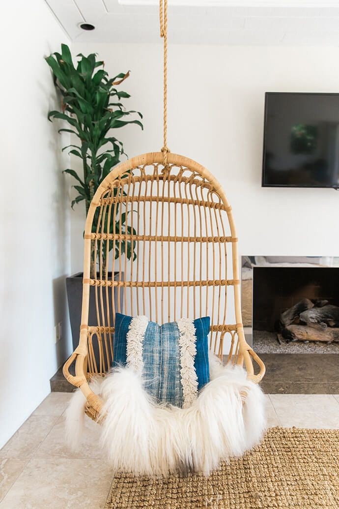 A serene bohemian bungalow living rooms home decor - Hanging chair living room ...