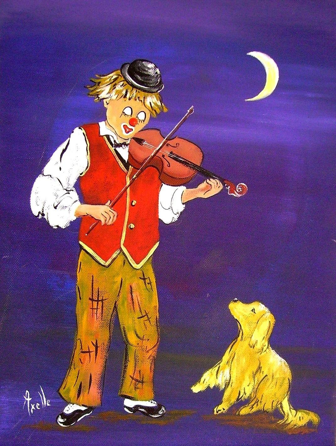 Tableau peinture d'un petit clown jouant du violon au grand plaisir de son petit chien : Peintures par peintures-axelle-bosler