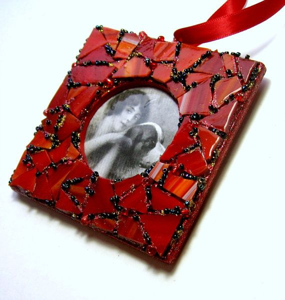 Mosaik-Rahmen Ornament Ornament rot Mosaik von MashedPotatoMosaics