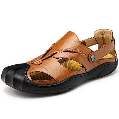 f5ce5a7d9a11 Men s Outdoor Leather Fisherman Sandals Casual Sports Shoes Summer Beach  Closed-toe Sandals Review
