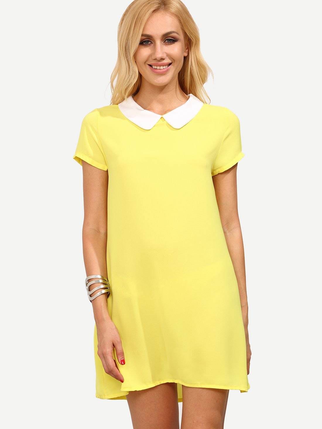 Shop Yellow Peter Pan Collar Short Sleeve Shift Dress Online Shein Minimal Carter Pleated Shirt White Putih S Offers More To Fit Your Fashionable