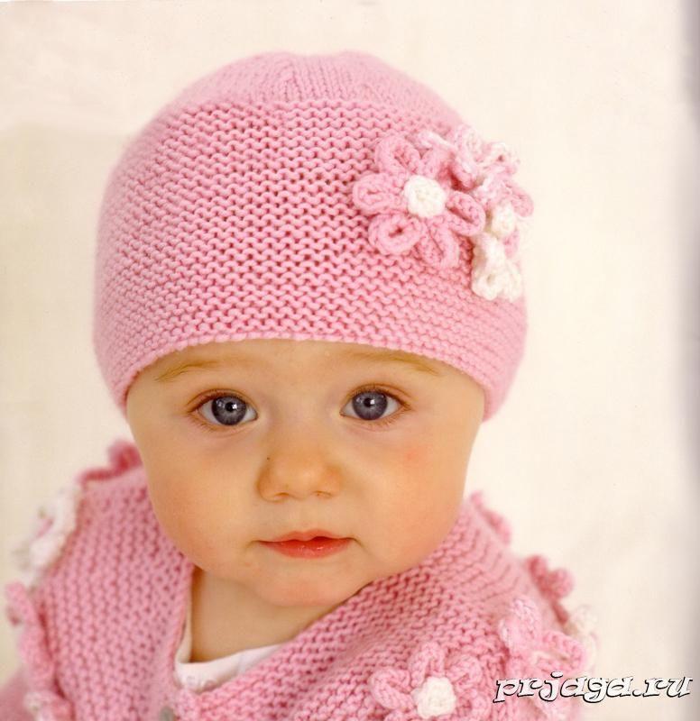 шапочка для девочки спицами детско плетиво на 2куки вязание