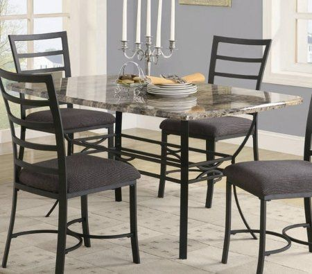Dining Table With Faux Marble Top In Black Metal Finish By Coaster
