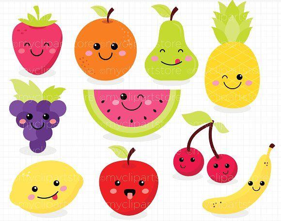 Cute Fruit, Kawaii Clipart by MyClipArtStore on ...