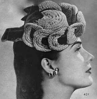 crochet straw hat, 40s style