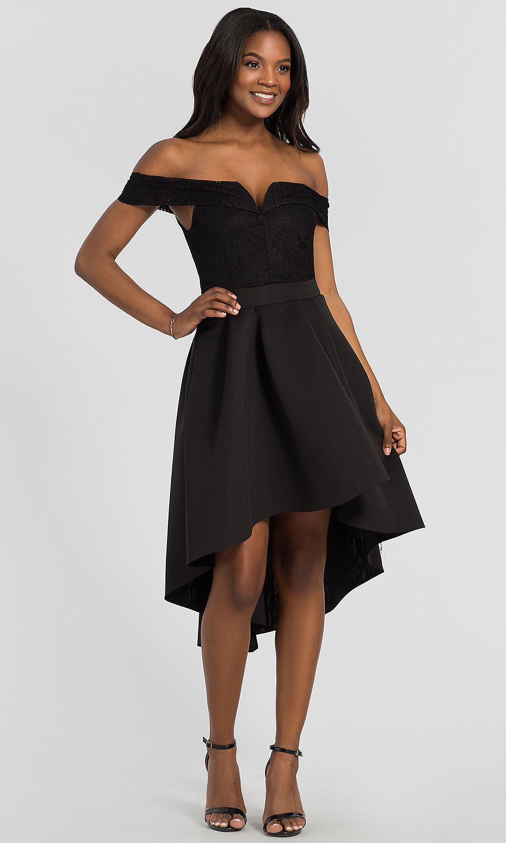 3e27f0125f77 Off-the-Shoulder High-Low Black Wedding-Guest Dress in 2019
