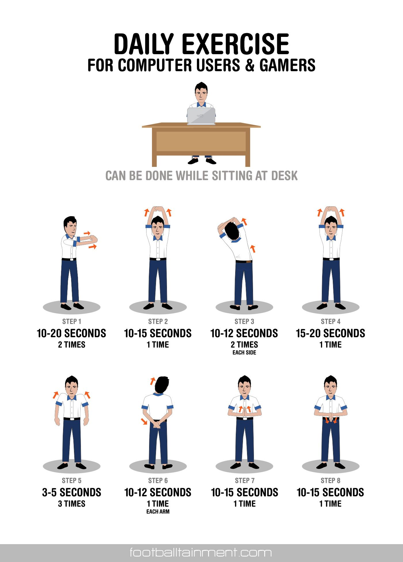 work desk daily exercise for gamers and puter which can be done