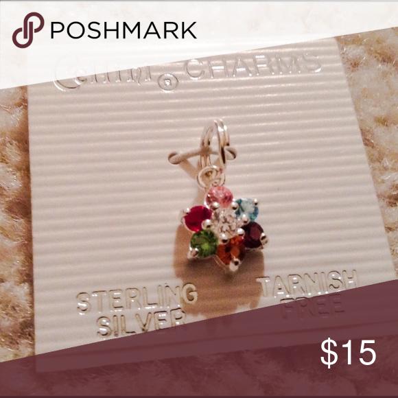 Beautiful Sterling Silver Rhinestone Flower Charm Brand New! Jewelry