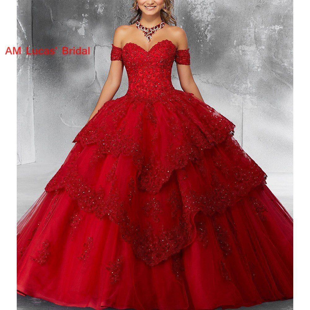 Rot Ballkleid Quinceanera Kleider Prom Kleid Süße 15 Jahr
