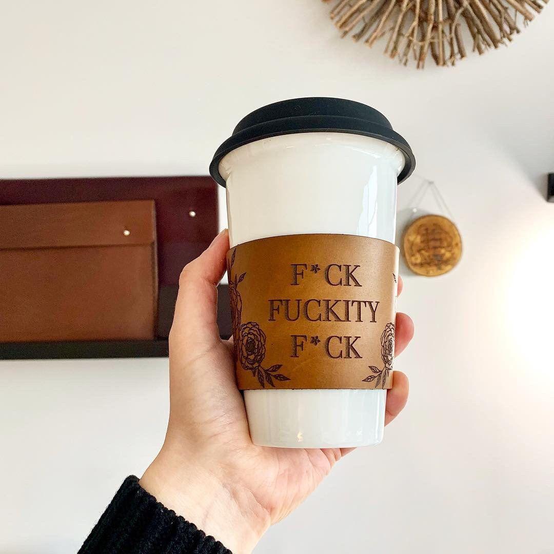 Custom reusable coffee sleeve coffee cozy leather