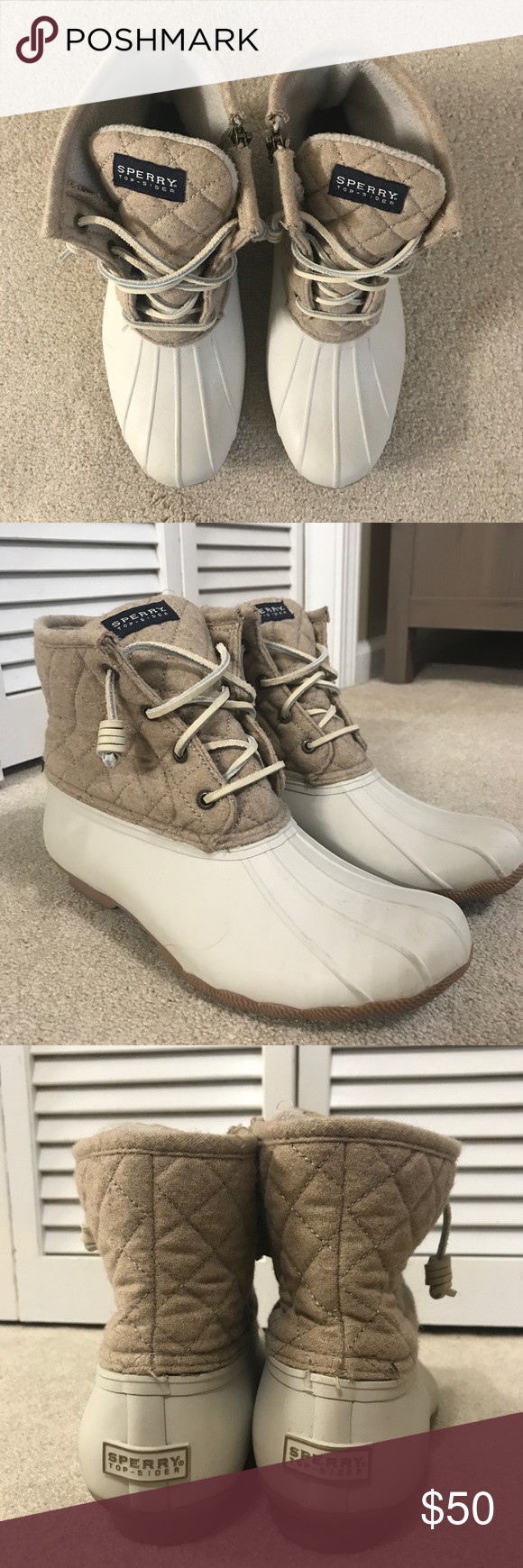 on sale 8eafc 8a871 SPERRY Saltwater Duck Boot - Quilted Oat Women s size 10 SPERRY Saltwater  Duck boots in oat with quilted detail. Barely worn! Side zipper great for  putting ...