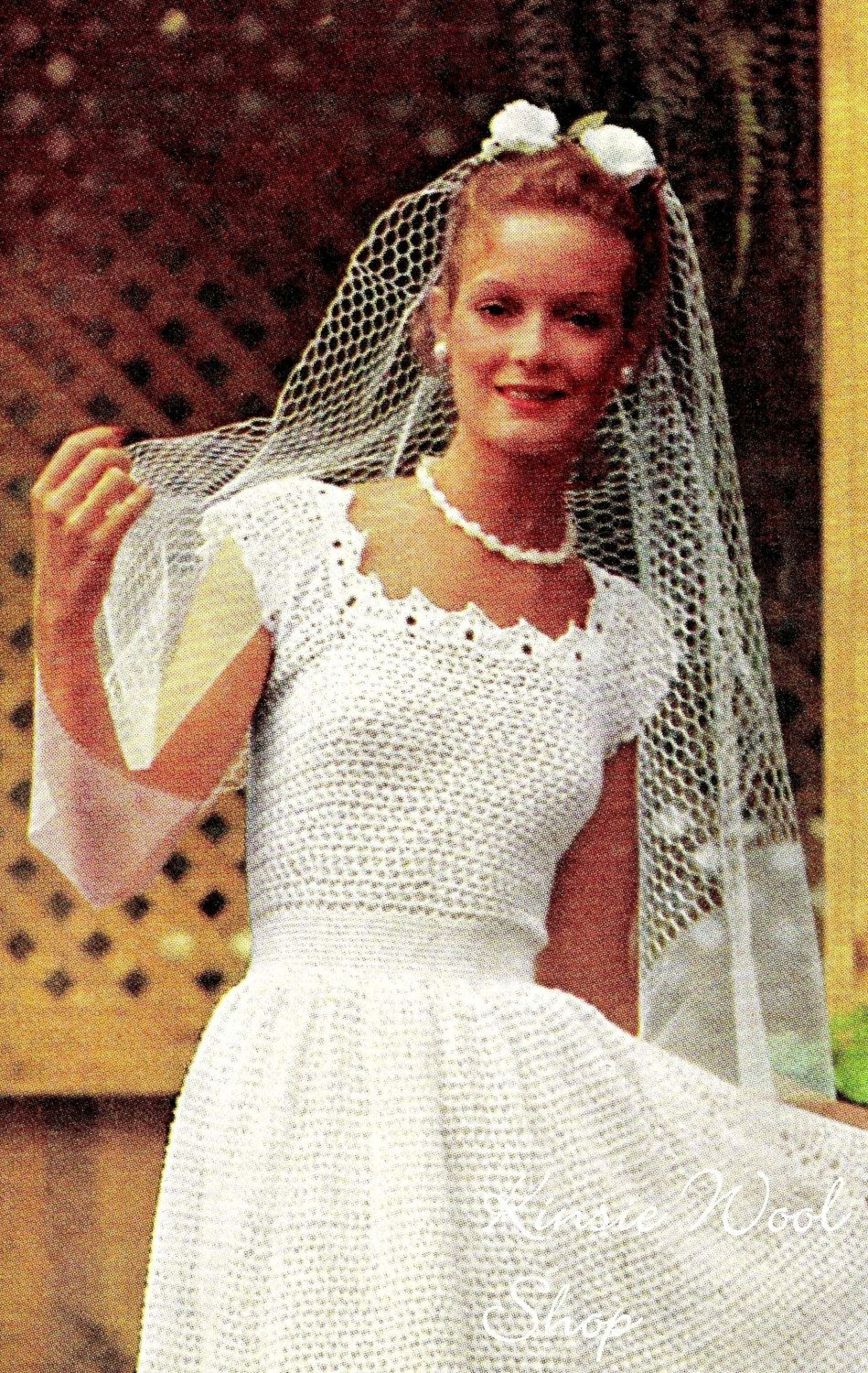 Vintage crochet wedding dress jacket pdf pattern for Crochet wedding dress pattern