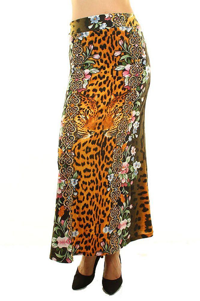 leopard floral print fashion maxi skirt maxis maxi