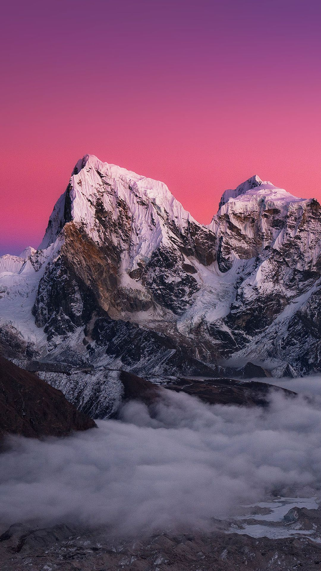 Icy Mountains Red Sky Iphone 6 Plus Wallpaper Wallpapers