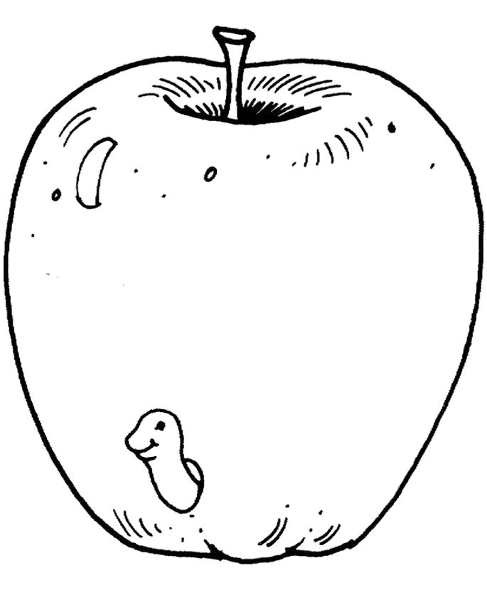 Pictures Red Apple Coloring Pages For Kids