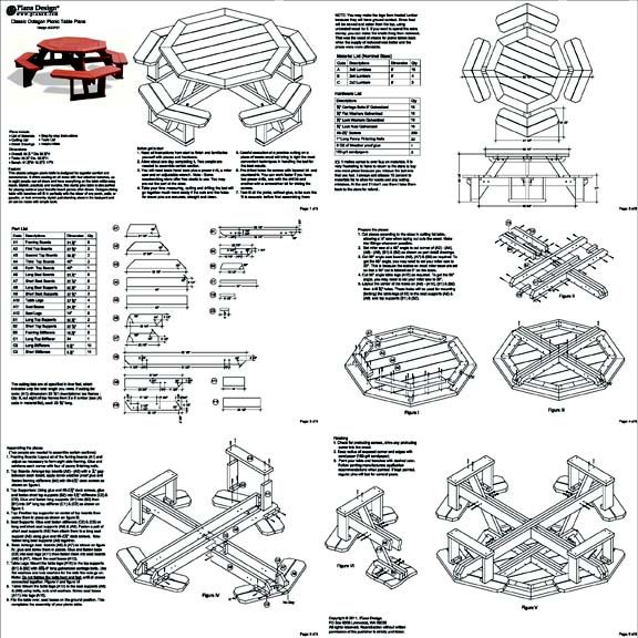 Details About Classic Octagon Picnic Table Woodworking Plans