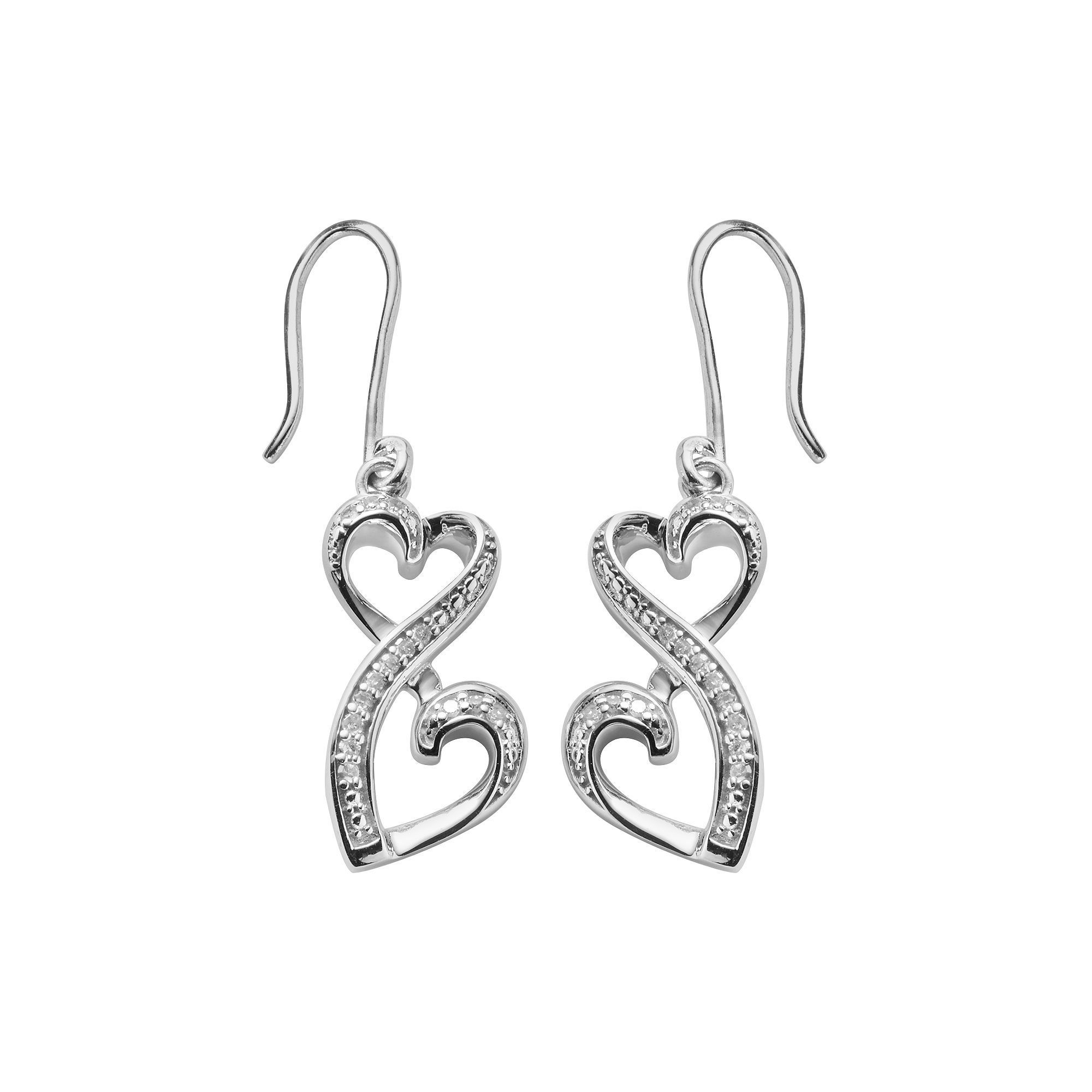 10 ct. T.W. Diamond Heart Drop Earrings