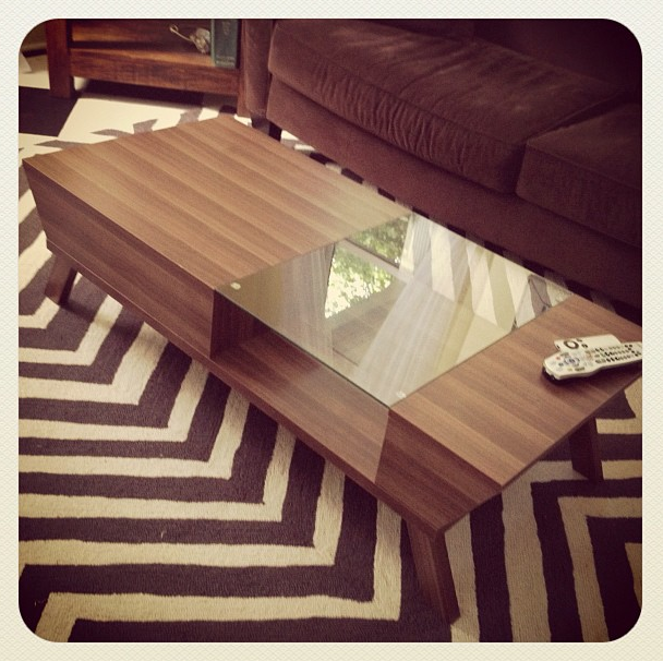U002750s Style Coffee Table + Chevron Rug