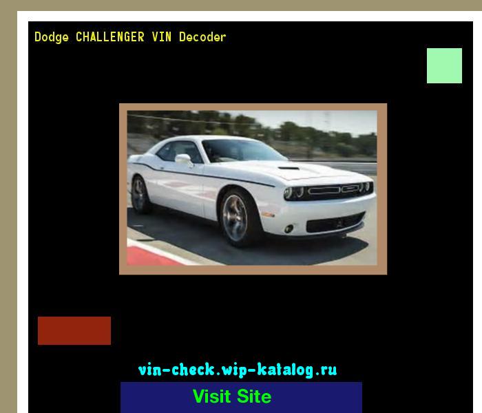 Dodge CHALLENGER VIN Decoder - Lookup Dodge CHALLENGER VIN