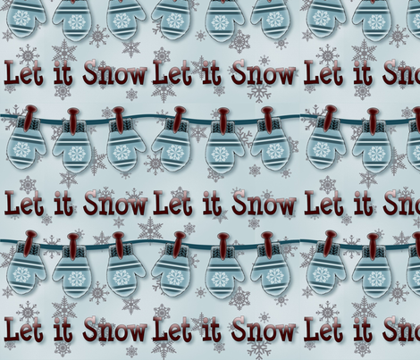 Mittens Let it Snow fabric by jabiroo on Spoonflower - custom fabric