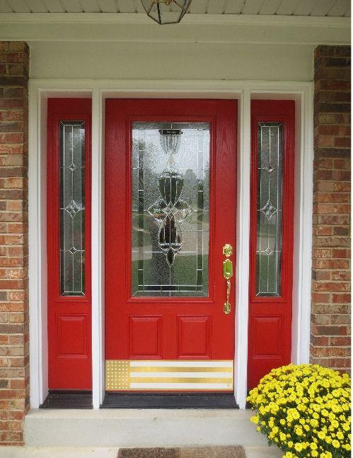 Brass US Flag Door Kick Plate by Deck the Door Decor & Patriot USA kick plate | Kick plate Decking and Doors
