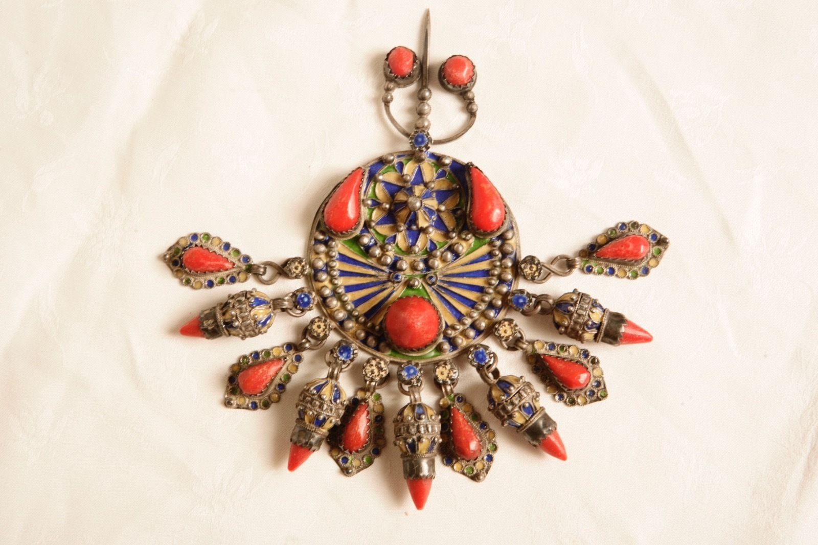 Bijoux Algerie Argent : Grande fibule bijou berbere beni yenni argent algerie