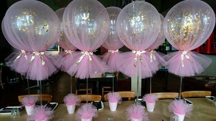 Hermosos centros de mesa usando tul Babies, Fiestas and Babyshower