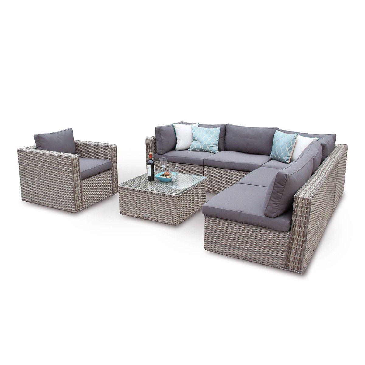 Ascot Rattan Modular Corner Sofa Daybed Patio Set - Natural ...