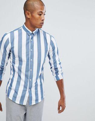 73eccf3c674 Lindbergh Wide Striped Shirt in Dusty Blue