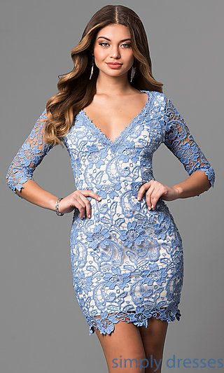 585371d5de Shop short graduation party dresses at Simply Dresses. Cheap v-neck  semi-formal dresses under  100 with floral lace and three-quarter sleeves.