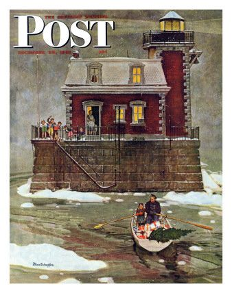 """Christmas at the Lighthouse,"" Saturday Evening Post Cover, December 28, 1946  Mead Schaeffer"