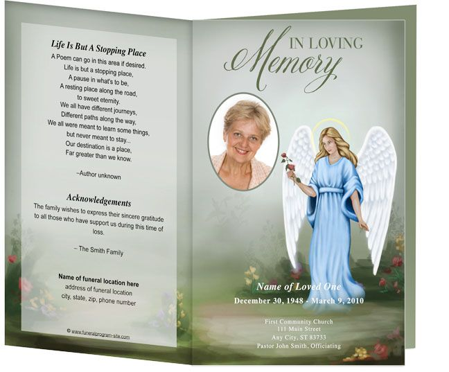 Angel With A Rose Funeral Memorial Example of Order of Service - funeral programs examples