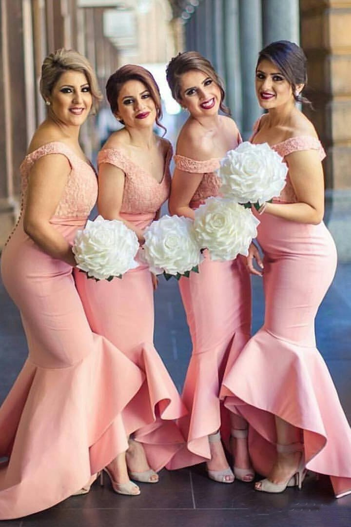 80b4a4a8e070 Baby Pink Mermaid Off-the-shoulder Hi-Low with Ruffles Lace Top Bridesmaid  Dress,N484 #bridesmaid #bridesmaiddress #Hi-Low #off-the-shoulder #mermaid