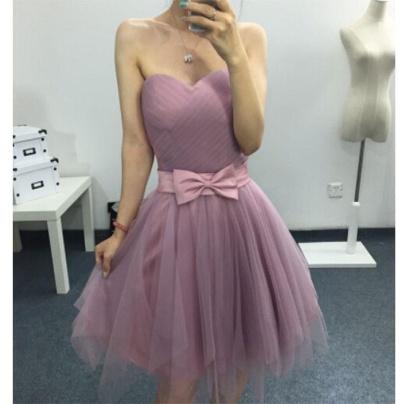 Nuevo Sencillo de Color Rosa Vestidos de Baile 2016 Sweetheart Bow ...