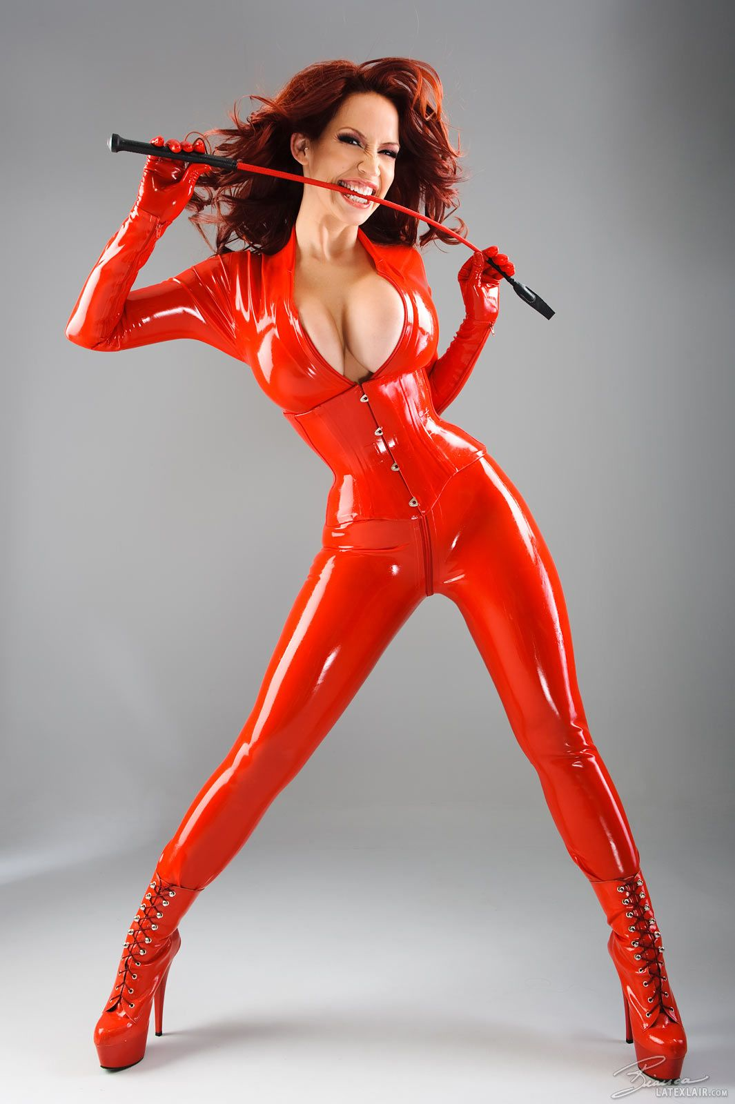 Average Couch Height Bianca Beauchamp In Red Latex Catsuit And Corset My