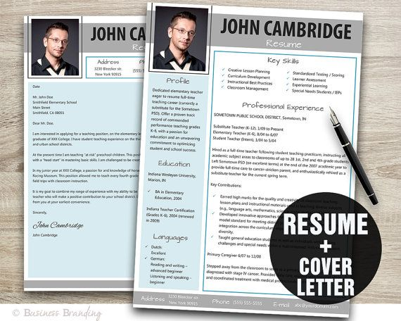 gray blue resume with photo instant download by businessbranding