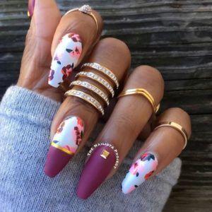 burgundy white floral coffin nails burgundy white