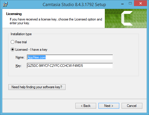 camtasia 8 software key and name