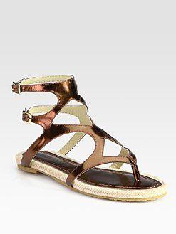 c980116ef6669 Jimmy Choo Peachy Metallic Leather Espadrille Thong Sandals ...