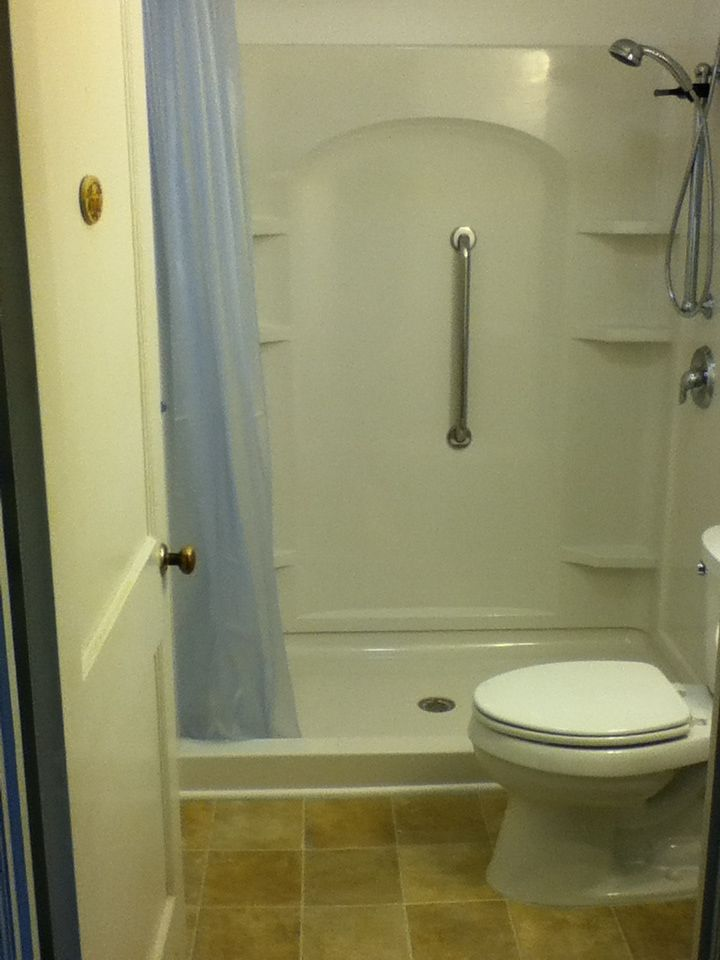 walk in showers | Bathroom Remodel with Fiberglass Walk-in Shower ...