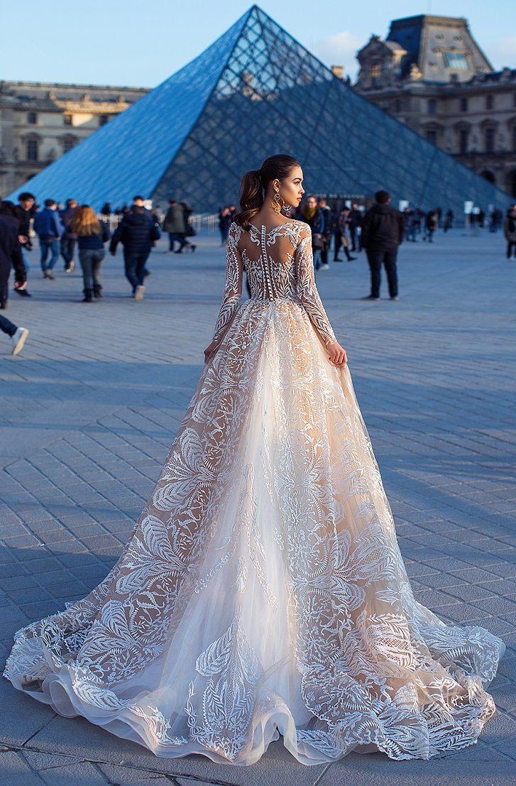 Long sleeves sweetheart neckline heavy embellishment a line wedding dress #weddingdress #wedding #weddinggown